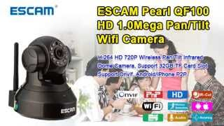 escam pearl qf100 h 264 wireless pan tilt ip camera video