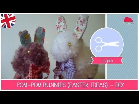 How to make a Bunny with Pom Poms (EASTER crafting ideas) - DIY easy Tutorial by Fantasvale