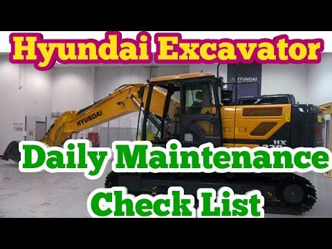 Excavator Daily Maintenance    Hyundai Excavator Check List    Hydraulic check Engine Oil check