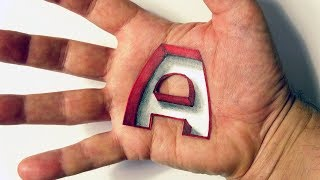 Hand Art Drawing & Coloring Letter A Hole in Hand - Simple & Easy