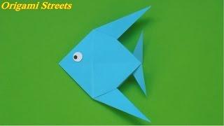 Оригами рыбка. Как сделать рыбку из бумаги.