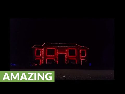 Jaw-dropping Christmas light show puts dark twist on cheery song