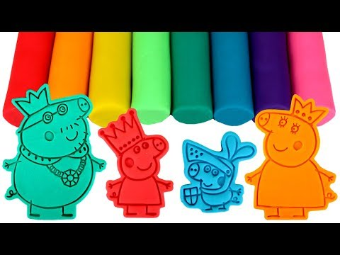 Peppa Pig Play Doh Molds & Surprise Toys with Daddy Pig Mummy Pig George Pig and Peppa Pig Painting