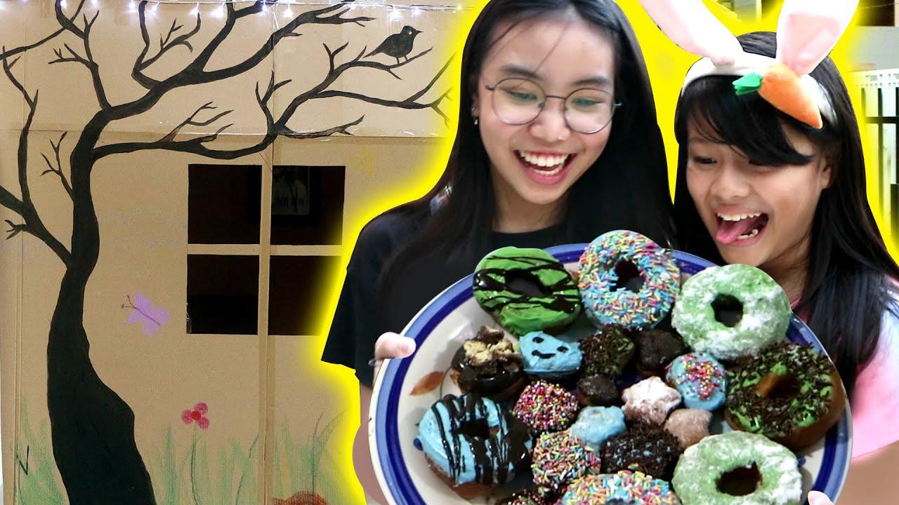 24 JAM DI DALAM RUMAH KARDUS Part 6 - BIKIN DONAT ENAK SERUUU !!  | Vlog Lucu | CnX Adventurers