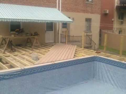 Wood Deck Build Around Pool Youtube