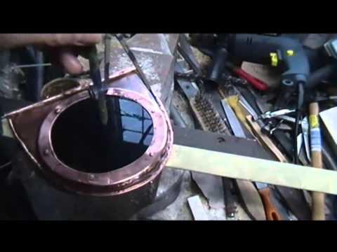 Antique style cat flap in copper