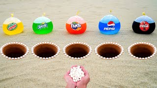 Coca Cola, Pepsi, Fanta, Sprite, Mtn Dew Balloons and Mentos in Different Holes Underground