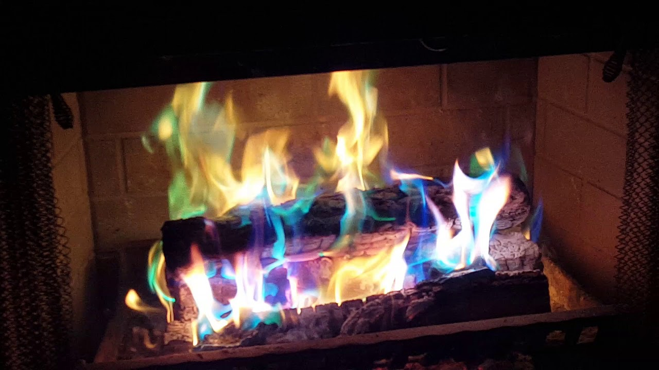 1st Time Trying Out Enviro Log Color Flame In Fireplace Youtube