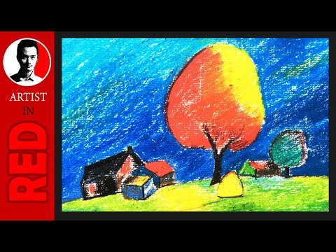 How To Draw Nature With Oil Pastels ⦿ Artist in Red