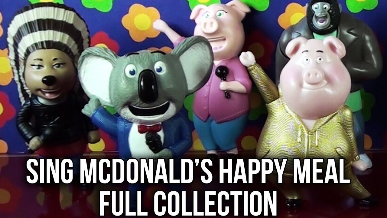 Sing Movie Mcdonald S Happy Meal Toys Full Set 8 Toys Buster Rosita Gunter Ash Johnny Mike Meena