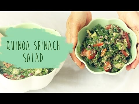 Chicken and green spinach quinoa salad