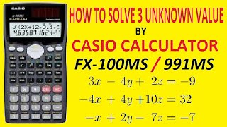 How to solve 3 unknown equation by Casio fx 100 MS   3 equation kaise solve kare in hindi by Casio