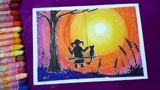 Dạy bé học vẽ tranh phong cảnh hoàng hôn ♥ How to draw sunset ft moonlight ♥