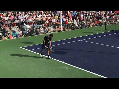 ATP #1 Roger Federer Indian Wells March 8 practice court with Spain's Marc Lopez