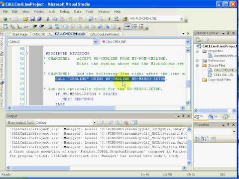 NetCOBOL for .NET Accept from Command Line plus Debug