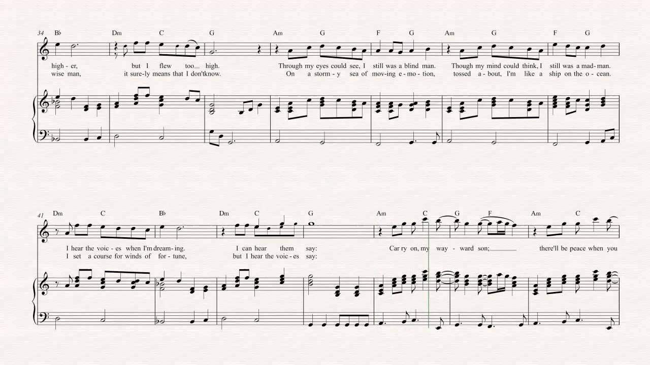 Flute Carry On Wayward Son Kansas Sheet Music Chords Vocals