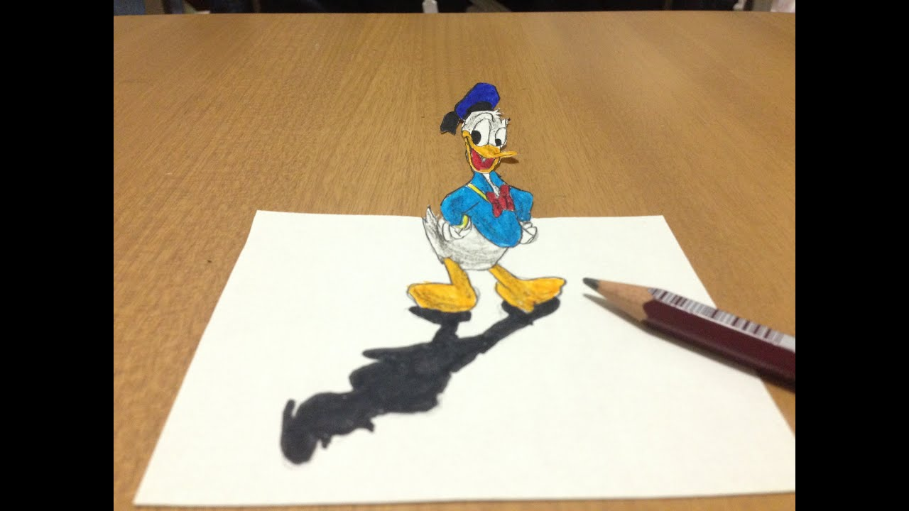 3d Donald Duck Drawing Anamorphic Illusion Youtube