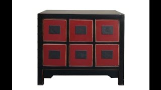 Chinese Black Red 6 Drawers Cd Cabinet Nightstand End Table Wk2889