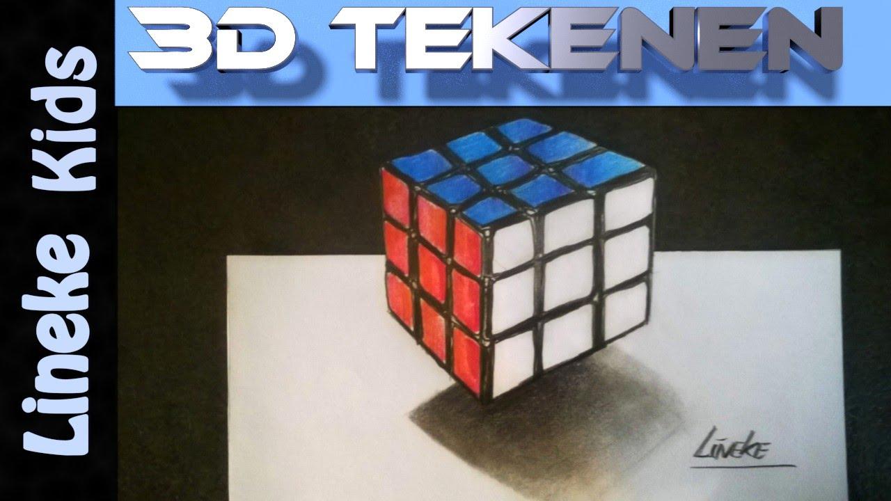 3d tekening rubic 39 s cube tekenen in stappen voor for Tekenen 3d