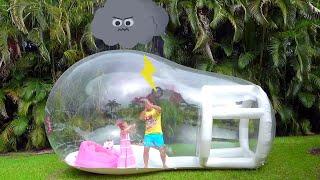 Nastya y papá se divierten competiciones, juegos al aire librepara niños