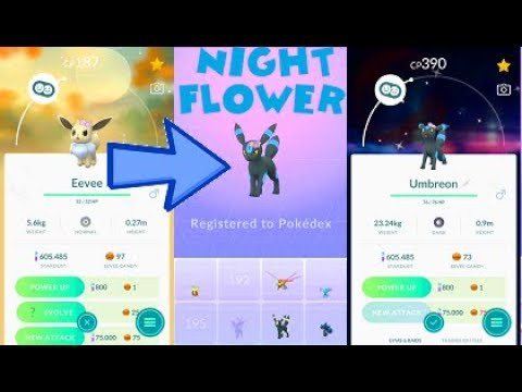 Pokemon Go 3X Shiny Flower Crown Eevee & Unmbreon Evolution