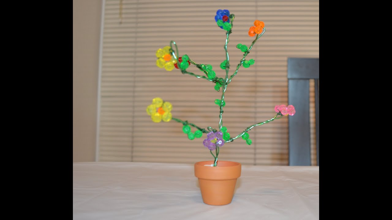How to make a tree using crystal beads youtube for Waste material craft for kid
