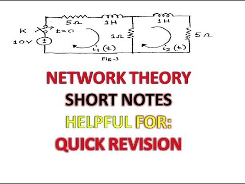 NETWORK THEORY SHORT NOTES || IMPORTANT CONCEPTS AND FORMULAS || HELPFUL IN  QUICK REVISION