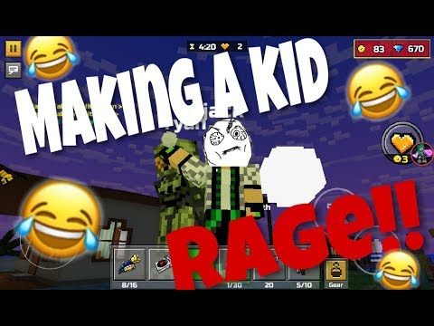 MAKING KID RAGE IN SANDBOX?! | Pixel Gun 3D Trolling
