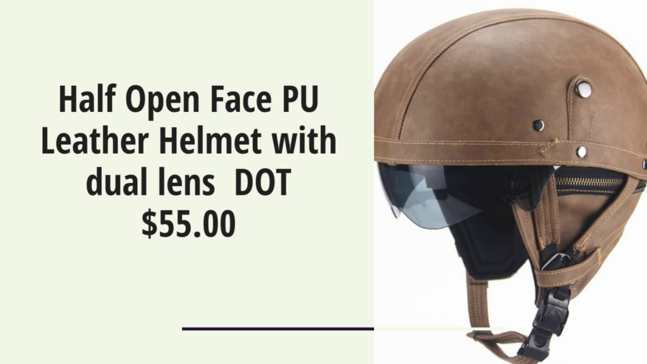 Half Open Face PU Leather Helmet with dual lens