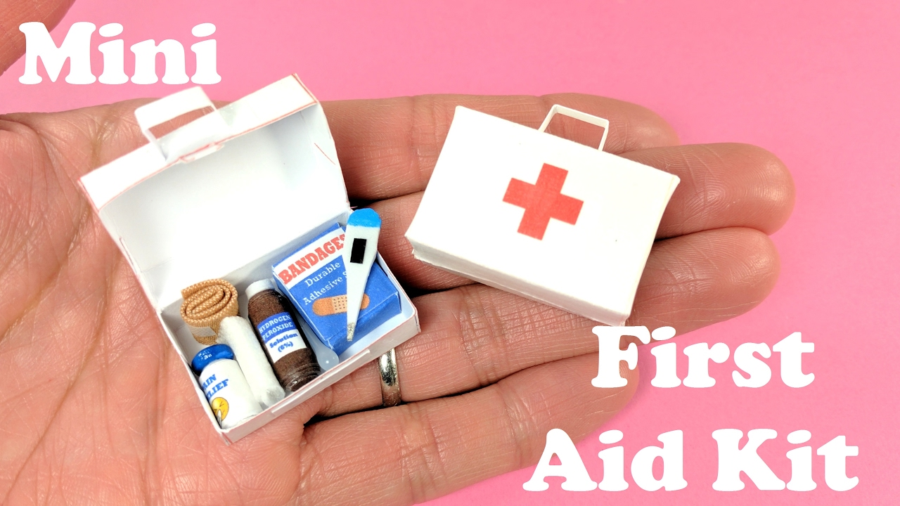 photo about Printable Pocket First Aid Guide identified as Do it yourself Miniature Initial Help Package Add-ons - Band Allows, Thermometer, Medicines - Doll Crafts