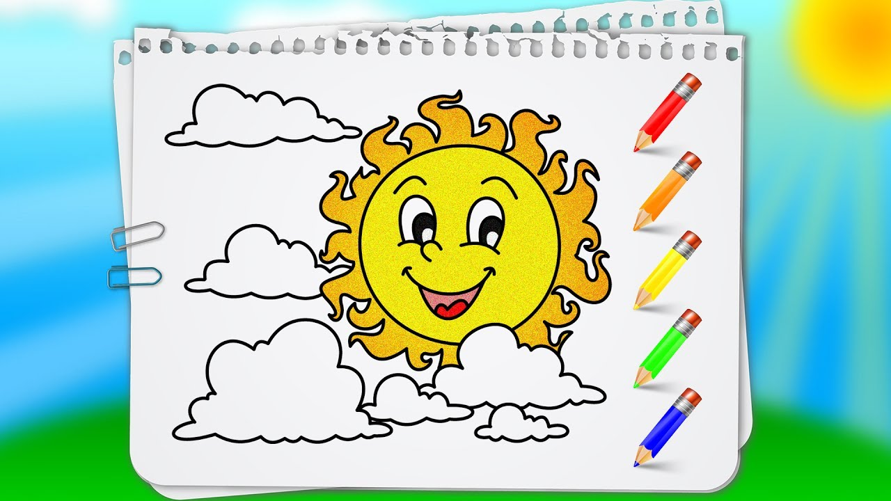 coloring pages sun and clouds learn how to draw and paint