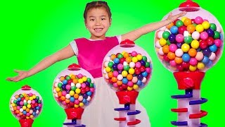 Smart Girl Wants a Giant Gumball Machine Learns Colors - Funny Toys Video