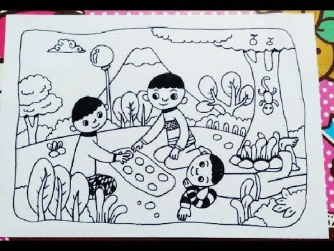 Cara Menggambar Anak Bermain Permainan Tradisional Youtube