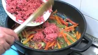 Carne picada con verduras