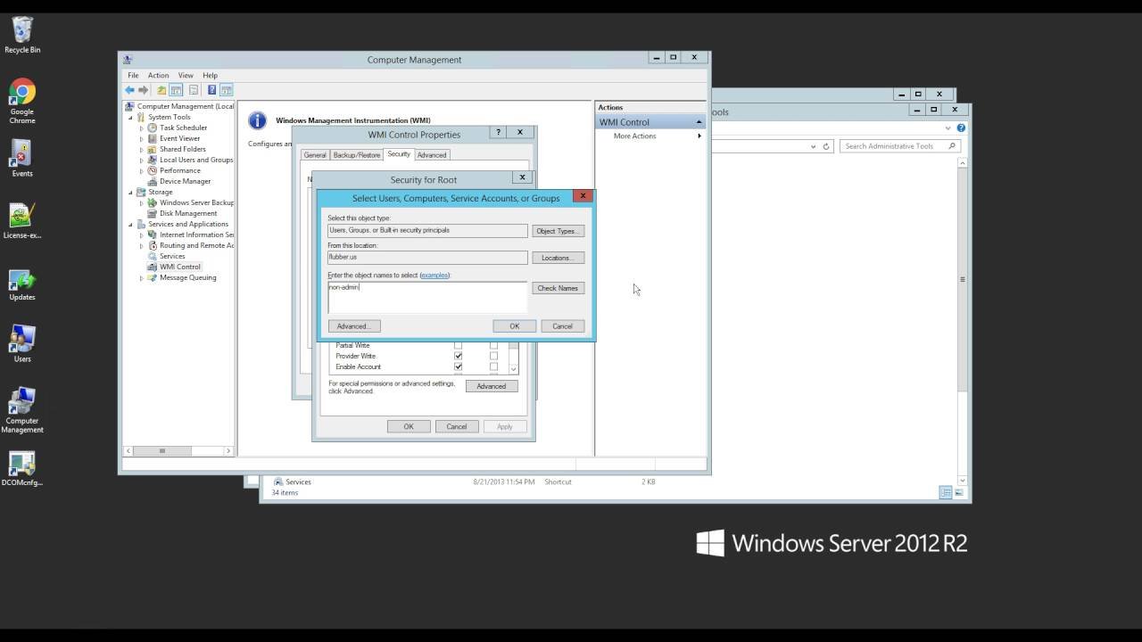 Using WMI without having full 'administrator' permissions