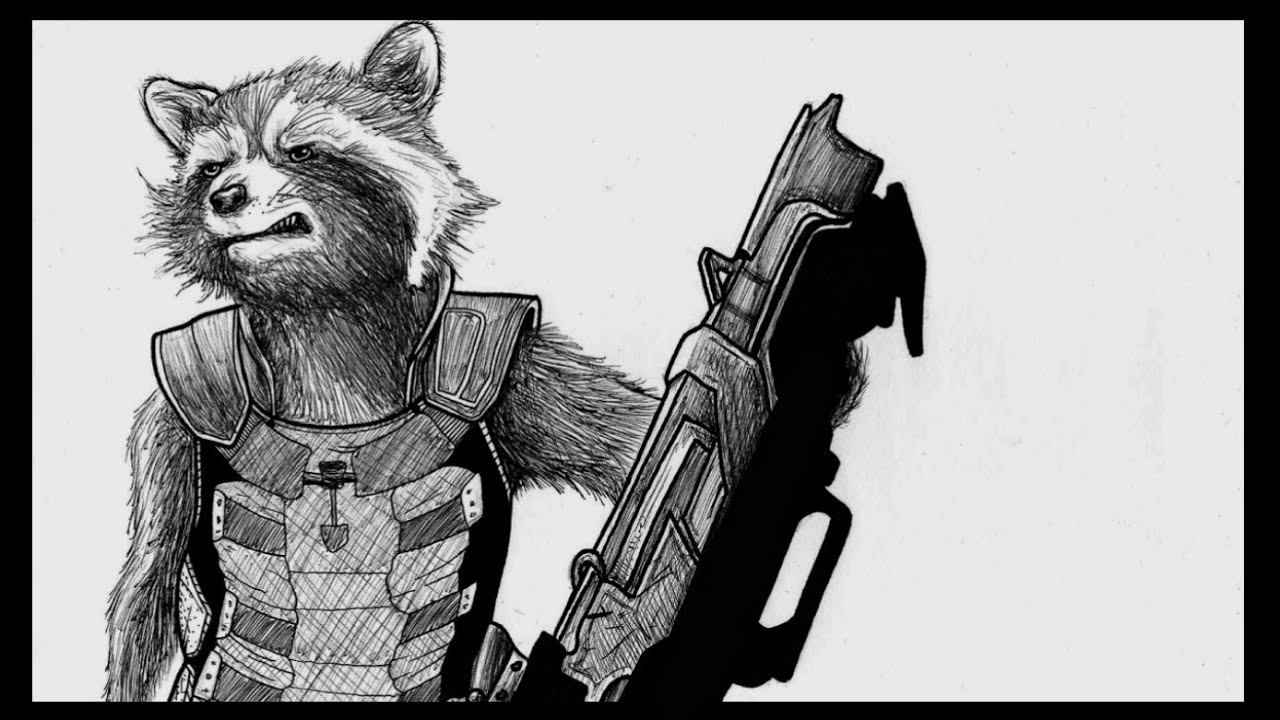 Rocket From Guardians Of The Galaxy 2 Time Lapse Drawing Youtube