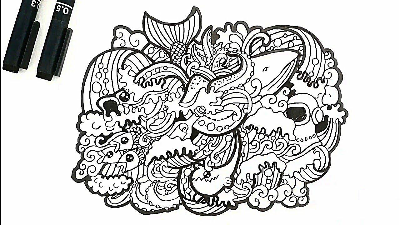 Doodle Sea Things Ragam Hias Alam Benda Flora Dan Fauna Youtube