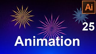 Анимация салюта. Animation firework. Экспорт flash в gif. Звездное небо. Урок 25. Adobe Illustrator