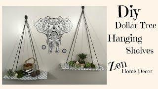 DOLLAR TREE DIY | HANGING SHELVES  $3 | ZEN HOME DECOR