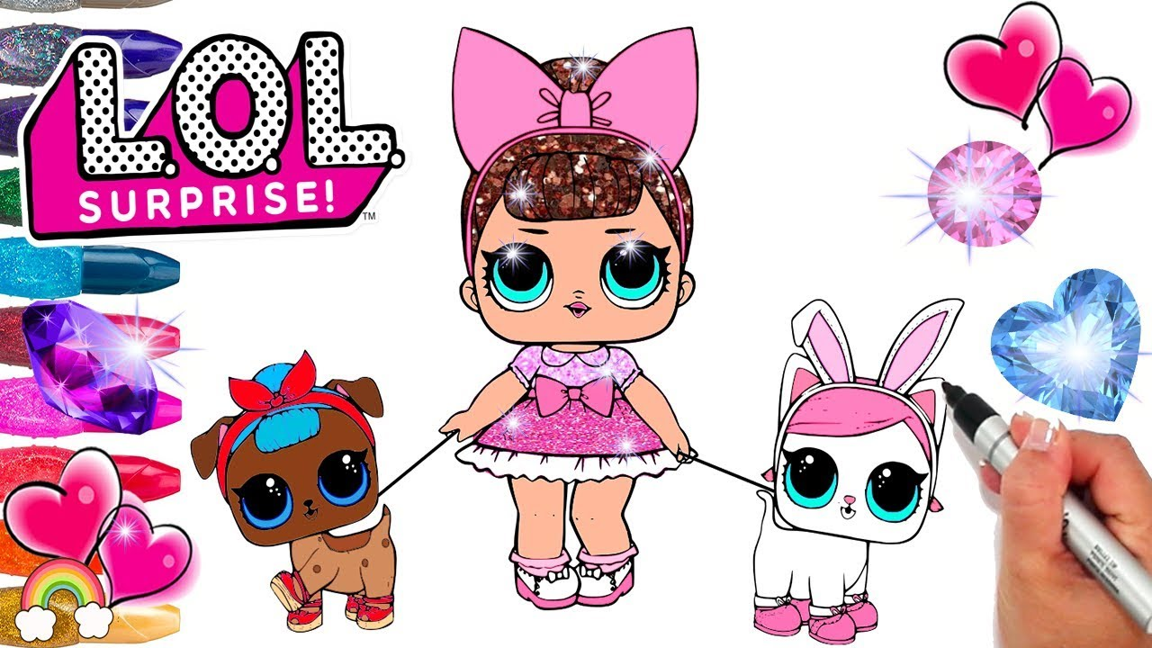 Lol dolls series 3 glitter fancy babysitting lol pets b b pup and hops kit tea coloring page