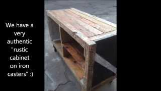 Converting an old wooden box to a rustic cabinet on iron casters