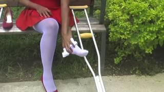 Repeat youtube video Short Leg Woman Cecilia Estella Murillo Palomeque - Valentine Day Crutching Hopping video 02
