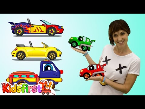 Thumbnail: Cars cartoons. Learn numbers with 🚚 Helpy the truck. Cars racing cartoon. Educational video.