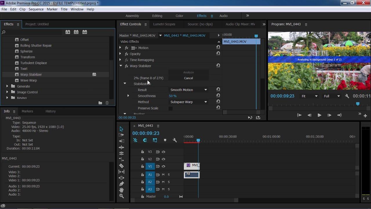 Cách chống rung cho video bằng Adobe Primiere CC
