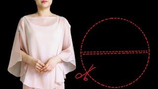 매우쉬운 원형블라우스 /재단과봉제를 10분만에 완성.Very easy round blouse/cut and sew in 10 minutes