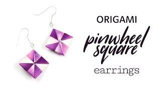 Easy Origami Earrings Tutorial - Pinwheel Squares - Paper Kawaii
