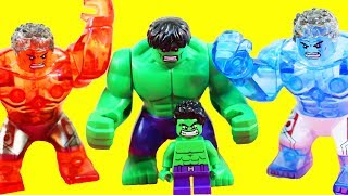 Lego Hulk Family Breaks Thor Out Of Jail + Color Replicating Red Hulk Blue Hulk Green Hulk Smash