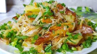 Жареная картошка с квашеной капустой, цыганка готовит. Постное блюдо. Gipsy cuisine.🥘