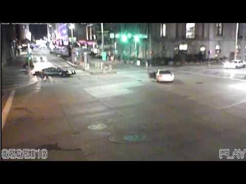 Cleveland police car runs red light just before crash