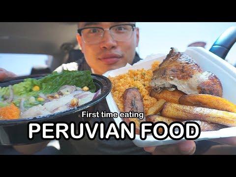 First time eating PERUVIAN FOOD MUKBANG